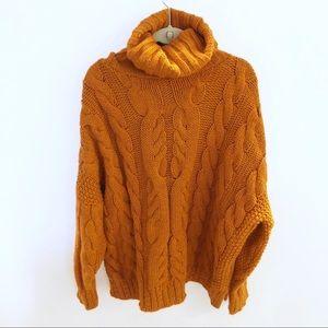 Topshop Orange Heavy Chunky Knit Turtleneck US 6